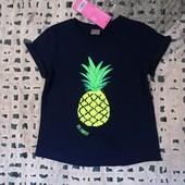 Блиц-цена! Классная фирменная футболка с пайетками от Рерсо! на 5-6 лет рост 116! хлопок!