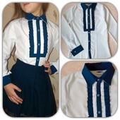 Красивая Школьная блузка-рубашка для девочек,100% хлопок.качество супер.