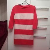 Яркое полосатое трикотажное платье р 48