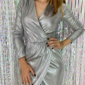 Вечернее платье на запАх, длина по колено, талия на резинке, рукав 3/4.