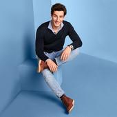 Пуловер с V-образным вырезом, темно-синий от Tchibo германия размер Л