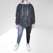 Бомба!Стильная рубашка с капюшоном,ткань твид,плотная. тренд 2021