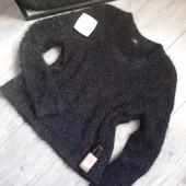 Крутой свитер травка с люриксом не колется цвет чисто чёрный вязка вертикальная полоса