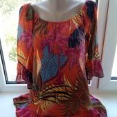 Красивая блуза-туника на пышные формы , 100% котон.размер 48,50,52