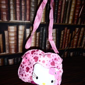 Мягкая плюшевая сумочка для девочки Hello Kitty с сердечками, розовая, читайте