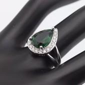 Винтажное кольцо из стерлингового серебра с большим зелёным камнем