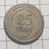 Монета Швеции 25 эре 1947
