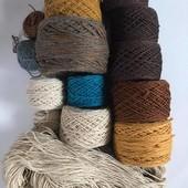 Нитки. Пряжа для вязания. Нить ковровая, полушерстянная. Лот 720 грамм