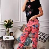 Стильная пижама Футболка +штаны цветы-Турция.
