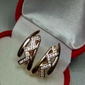 Одни!Нежные серьги с белым цирконом, позолота 585 пробы с цирконим