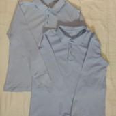 Комфортное хлопковое поло - рубашка с длинным рукавом george 9-11 лет