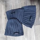 Распродажа! Новая серая вязанная шапка для мальчика, Германия, в лоте 1 шт.