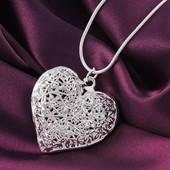 Набор Комплект цепь с подвеской медальйон Сердце Стерлинговое Серебро 925 проба (покрытие)