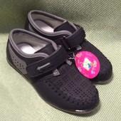 Черные классические туфли, летние, в дырочку