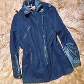 пальто с кожанными рукавами м