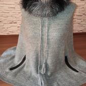 Гарне вязане пончо,накидка.Розмір М,L.