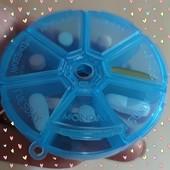 Таблетница круглая 7 дней, Коробочка для таблеток круглая , органайзер