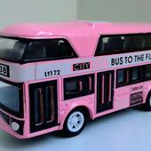 Классный автобус метал. Tourist Bus инерц., резин.колеса. Розовый