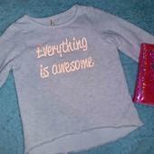 Очень красивая фирменная меланжевая кофточка с начесом,на девочку 7-9 лет