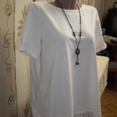 Белая нарядная футболка с кружевом next,р.16