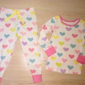 Пижамка хлопок сердечки, на 1.5-2 года