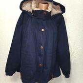 Супер классная темно-синяя утеплённая куртка парка оверсайз с плюшевым мехом р.12 Акция