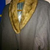пальто драповое утепленное внутри, воротник - норка