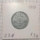 Монета Франции 1 франк 1947