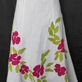 Новая качественная юбка с аппликацией, лён+коттон,талия 80-84