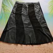 Комбинированная юбка натуральная кожа + замша, Италия