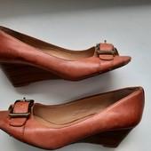 Теракотовые туфли босоножки на узкую ножку,23 см