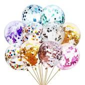 Шарики прозрачные с конфети для праздничного декора. В лоте 3 шт. на выбор победителя