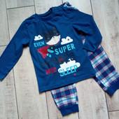 Хлопковая мягенькая пижама, низ фланелевый, Lupilu размер указан 86/92