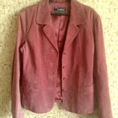 40-42р. Розовато-лиловая замшевая куртка-пиджак
