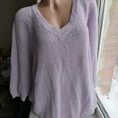 Сиреневый свитер с блестящей нитью батал большой размер оверсайз next