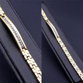не пропустите! шикарный широкий браслет с фианитами, р. 18 см, позолота 585 пробы