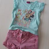 Фирменный комплект футболка Disney/George и шорты Next на 1- 1,5 года.