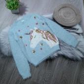 Стоп! Красивенный свитер травка с единорожкой идеальное состояние