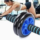 Тренажер ролик для пресса 2 колеса, фитнес-колесо, с ковриком в комплекте