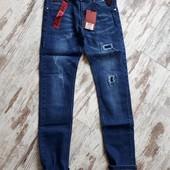 Фирменные плотные джинсы зауж модель цвет синий р140 длина 83/62см