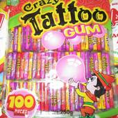Жевательная резинка крейзи тату Crazy Tatoo gum . Целая упаковка 100 шт