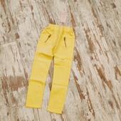 Модные коттоновые жёлтые брюки скинни талия на резинке ✓✓164✓✓95/73 можно на S