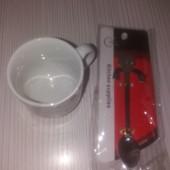 Теплая чашка кофе для тебя)!Набор:чашечка и ложечка для кофе.
