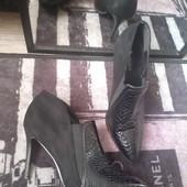 Обалденные туфли перед под кожу крокодила зад под замш чит.опис