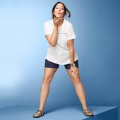 Летняя футболка с натуральным хлопком и вышивкой от Tchibo (германия) размер 52 евро=58-60