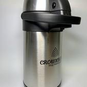 Термос пищевой помповый с насосом из нержавеющей стали, с помпой на 3 л crownberg CB 3L