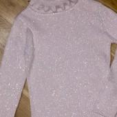 Свитер свитшот с горлом вывязка лапша для девочки 5-6 лет