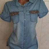 Новая! Шикарная джинсовая рубашка на рост 146-152 (42-44)