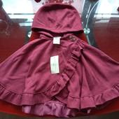 Max Studio Kids пончо наплечье пелерина накидка с капюшоном девочке 9-12-18 м теплое красивое новое