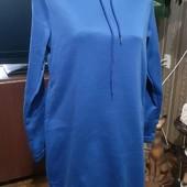 Мега красивое ярко синее тёплое на байке невесомое платье на Л-ХЛ новое
